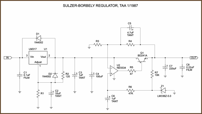 In 3 7v Out 5 2v 2a Switching Regulator besides Scaling Battery Charger Simple As Decreasing The Resistance in addition Lm317 With Outboard Current Boost together with Make A Zener Diode Out Of A Mosfet further 20359 RG. on voltage regulator circuit schematic